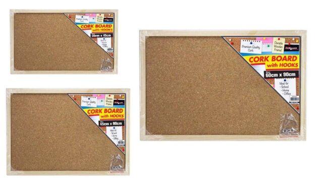 Cork Board Pins Corkboard Pinboard Notice Large Memo Wooden Frame Brand New