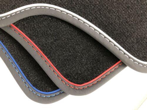 Fußmatten für Skoda Citigo Velours schwarz Nubukband und farbigem Unterband