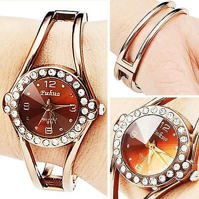 Deluxe Rose Gold Bracelet Bangle Rhinestone Crystal Quartz Wrist Watch Watches