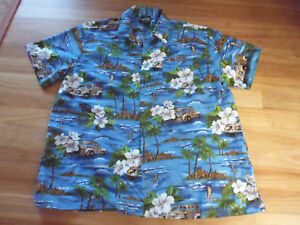 MEN-039-S-BLUE-TROPICAL-THEME-SHORT-SLEEVE-CASUAL-SHIRT-BY-LOWES-SIZE-6XL-CHEAP