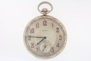 Antique-Elgin-14k-White-Gold-Filled-8s-Giant-Case-Co-17-Jewel-Pocket-Watch