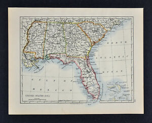 Map Of Georgia Florida And Alabama.1895 Johnston Map United States South Florida Georgia Alabama