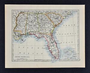 Map Of Georgia Florida And Alabama.1895 Johnston Map United States South Florida Georgia Alabama