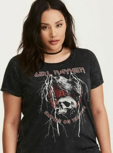 Girl Mayhem Empire on the Rise Black Mineral Slim Skull Tee Top 5X 28 TORRID