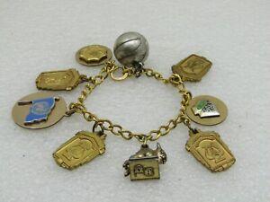 Vintage-12kt-G-F-Charm-Bracelet-7-034-School-University-1950-039-s-1960-039-s-Lestage
