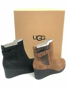 9365d60d853 Details about UGG Women's Indra Waterproof Leather Wedge Ankle Boots  1017423 Stout Black