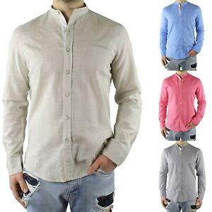 Camicia-Uomo-Collo-Coreana-Cotone-Casual-Slim-Fit-Manica-Lunga-Sartoriale-Estiva