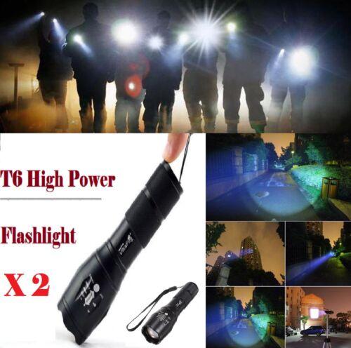 2 x Zoomable XML-T6 3000 lm Ultra 6000k DEL Lampe de poche Focus Torche Lampe