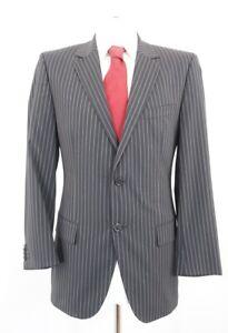 RED HUGO BOSS Anzug Aamon Gr.50 schwarz Nadelstreifen Einreiher 2-Knopf -C87