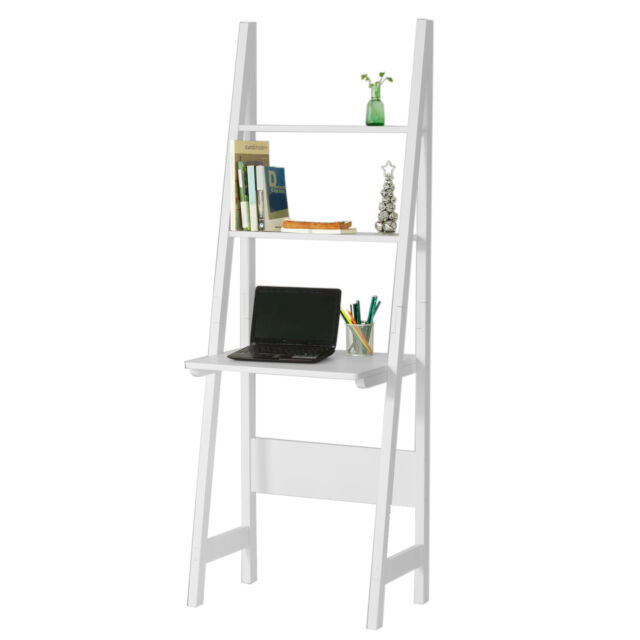 So White Standing Ladder Storage Shelf Desk And 2 Shelves Frg60