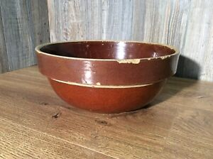 Antique-Primitive-Stoneware-Bowl-Crock-Pottery-Large-Size-G5
