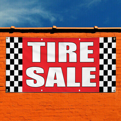 Vinyl Banner Sign Tire Sale Auto Body Shop Car Repair Marketing Advertising Red Multiple Sizes Available 8 Grommets One Banner 48inx96in
