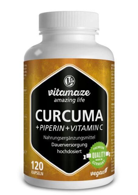 Curcuma Kurkuma Kapseln + Piperin Curcumin hochdosiert + Vitamin C Gelbwurzel