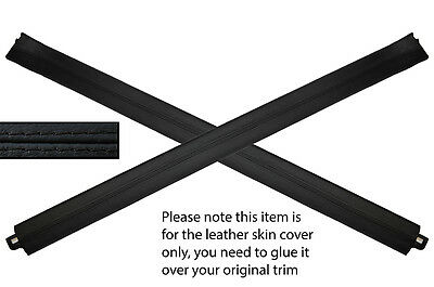 BLACK LEATHER 2X DOOR SILL TRIM SKIN COVERS FITS AUDI A3 MK1 96-04 3 DOOR