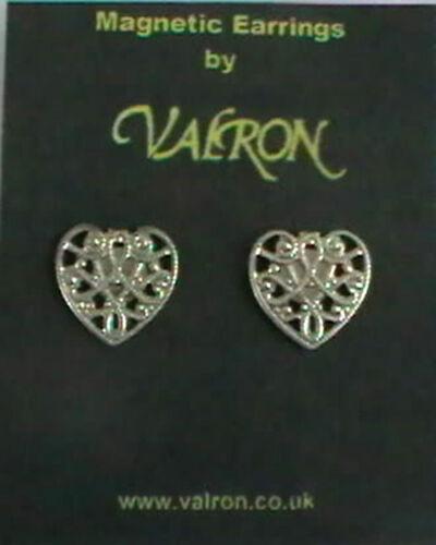 Tono plata forma de corazón Magnético pendientes