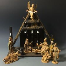 VINTAGE Depose Italy Fontanini Nativity Set + REAL Bark Wood Stable Creche
