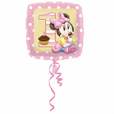 "MINNIE MOUSE 1ST BIRTHDAY PARTY SUPPLIES 18"" BABY GIRL FOIL BALLOON"