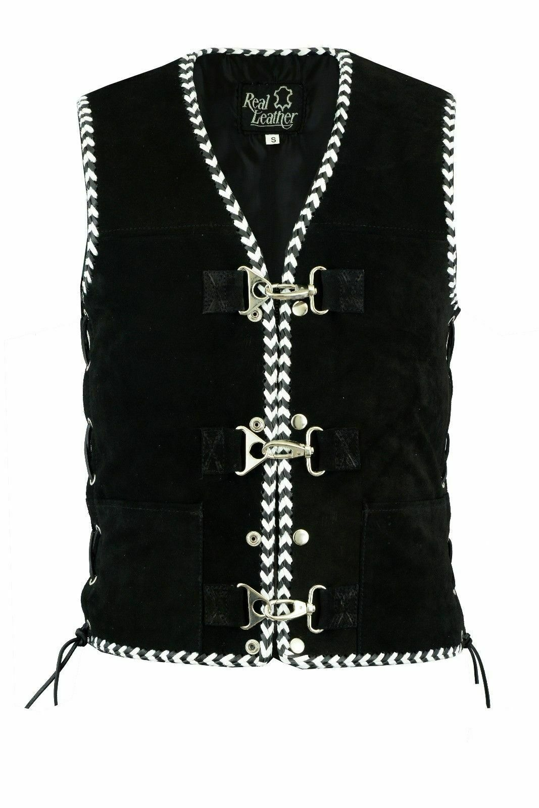 Motorcycle Harley Spanish Braid Suede Vest with Clips   All Tailles
