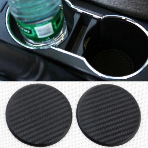 1 Pair Black Car Auto Water Cup Slot Non-Slip Carbon Fiber Look Mat Accessories