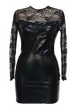 Sexy Black Wet Look Bodycon Vinyl Mini Dress Sheer Lace Dance Club Stripper 107