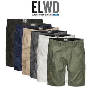 Mens-Elwood-Work-Utility-Shorts-Canvas-Cargo-Phone-Pocket-Tough-Tradie-EWD201