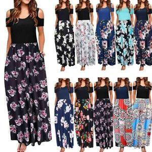Womens-Cold-Shoulder-Pocket-Floral-Print-Elegant-Maxi-Short-Sleeve-Casual-Dress