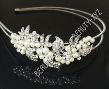 New Silver Rhinestone Ivory Color Pearl Flower headband for Wedding PARTY #4