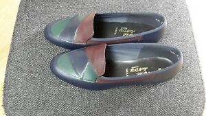fayre-lady-shoes-size-5-Navy-green-amp-tan-small-heel