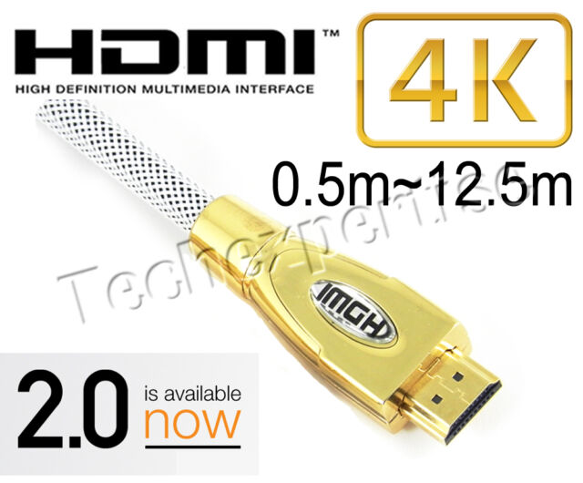 Premium HDMI Cable V2.0 Gold Plated High Speed Audio 3D 4K Ultra HD 0.5m ~ 20m