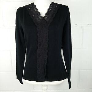 Field-Manor-Blouse-Women-Size-S-Wool-Black-Lace