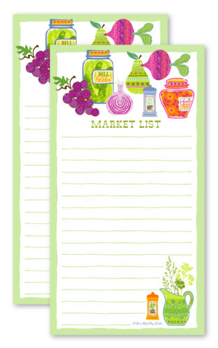 shopping list pads grocery fruits and veggies market