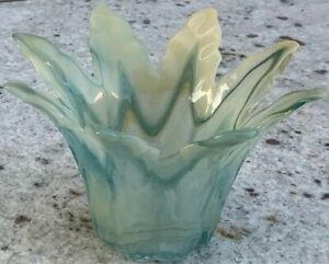 Vintage-Murano-Blown-Glass-Tomarro-Art-Glass-Teal-Cream-Dish-Bowl-Centerpiece