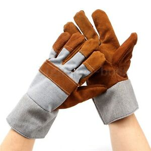 Durable-Welding-WELDERS-Work-Soft-Cowhide-Leather-Plus-Gloves-Protecting-Hand