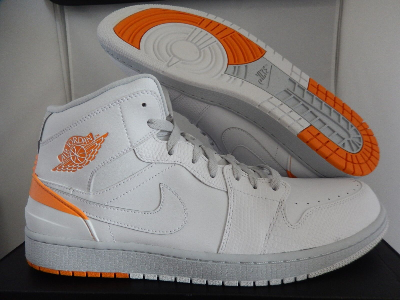 NIKE AIR JORDAN 1 RETRO 86 WHITE-KUMQUAT-PURE PLATINUM SZ 14 [644490-115]