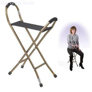 New Seat Folding Aluminum Cane Walking Stick Medical
