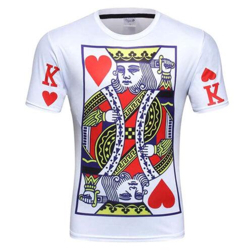 43F3 T-Shirts Short Sleeves Men/'S T-Shirts Playing Card Mens Outdoor Men/'S Tops