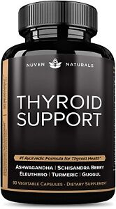 Thyroid Support - All Natural Plant Based Supplement w/ Ashwagandha 90 Capsules