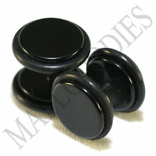 "2012 Black Fake Cheater Illusion Faux Ear Plugs 16G Bar 1/2"" = 12mm BIGGEST 2pcs"