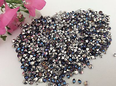 Vintage Bermuda Blue Rhinestone Preciosa Repair Silver foiled Size Options