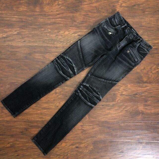 Balmain Jeans Biker Moto Gray Distressed Size Junior 14A Waist 28 Made in Japan