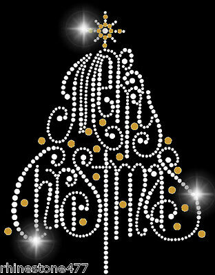 Merry Christmas Tree Rhinestone Iron On Transfer Bling Applique