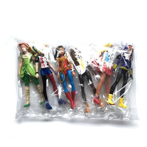 6pcs//set DC Comics Super Hero Girls Harley Quinn Batgirl Kid Action Figures Toy