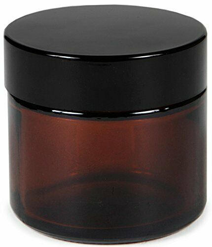 GLASS JARS with Inner Liners Black Lids Round Amber 2 Ounce 12 Pack By VIVAPLEX