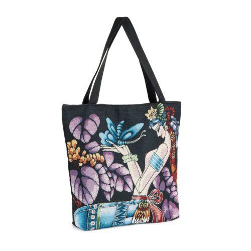 Black Tone Butterfly and Girl Design Canvas Tote Bag Shopper Shoulder Bag Beach