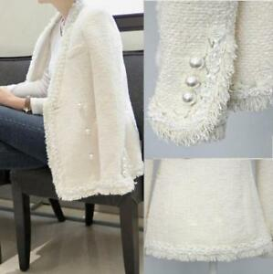 Slim Double Pearl Women Formal Runway Jacket Outwear Tassel Hvid Botton Frakker YAFRxqnW
