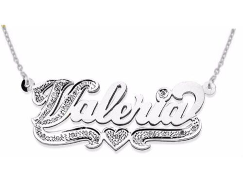 Personalized Diamond High Polish Nameplate Pendant Necklace Sterling Silver or Y