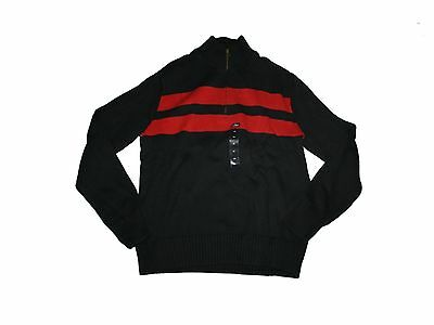 New Men American Living Black Red Striped Zip Mock Neck Cotton Sweater Size M