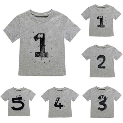 Toddler Infant Kids Boys Girls Number Cartoon Short Sleeve T-shirt Tops Clothes