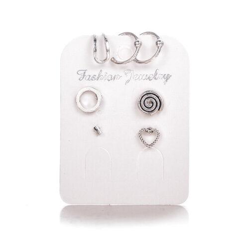 7pcs//set Bohemian Round Heart Ear Fake Piercing Earrings Ear Cuff Body Jewelry