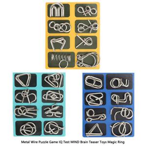 Metal-Wire-Puzzle-Game-Denkaufgabe-Spielzeug-Magisch-Ring-IQ-Test-Mind-Gift-Neu